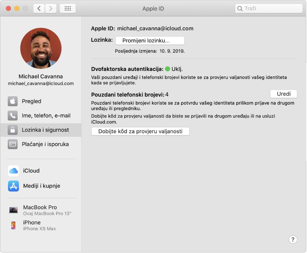 Postavke Apple ID računa s prikazom rubnog stupca različitih vrsta opcija računa koje možete koristiti i postavke Lozinka i sigurnost za postojeći račun.