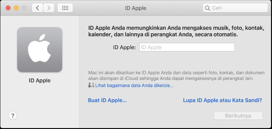 Dialog ID Apple siap untuk entri dari ID Apple. Tautan Buat ID Apple memungkinkan Anda membuat ID Apple baru.