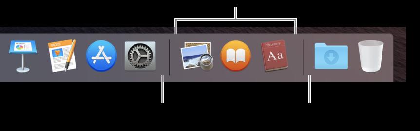Baris pemisah di antara app dan file serta folder di Dock.
