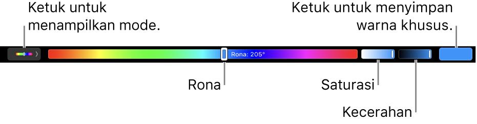 Touch Bar menampilkan penggeser rona, saturasi, dan kecerahan untuk mode HSB. Terdapat tombol untuk menampilkan semua mode di ujung kiri; tombol untuk menyimpan warna khusus di kanan.