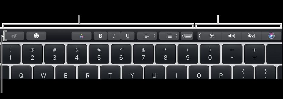 Touch Bar, di sepanjang bagian atas papan ketik, menampilkan tombol yang berbeda-beda menurut app atau tugas di kiri dan, di kanan, Control Strip yang diciutkan.
