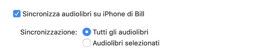 """L'opzione """"Sincronizza audiolibri sul dispositivo"""" è visualizzata con il pulsante """"Tutti gli audiolibri"""" selezionato ed il pulsante """"Audiolibri selezionati"""" non selezionato."""