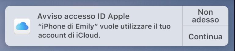 Notifica del dispositivo che richiede l'approvazione per il portachiavi iCloud.