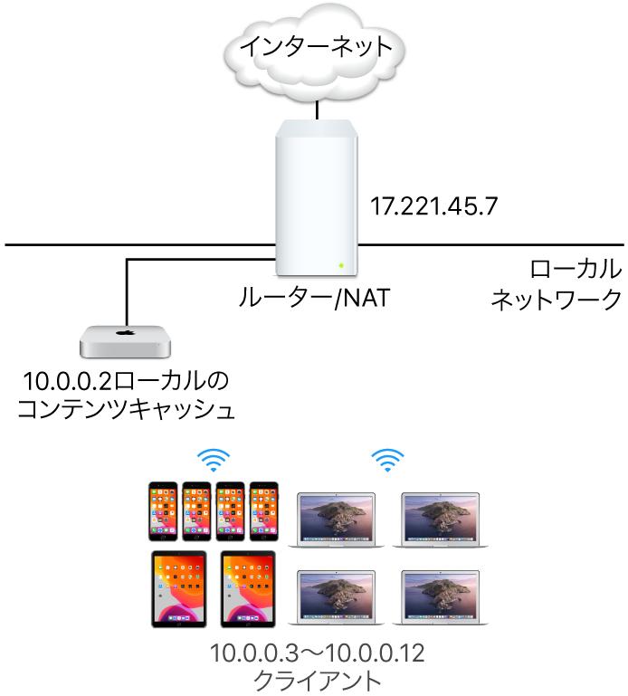単一サブネットのキャッシュサーバ。