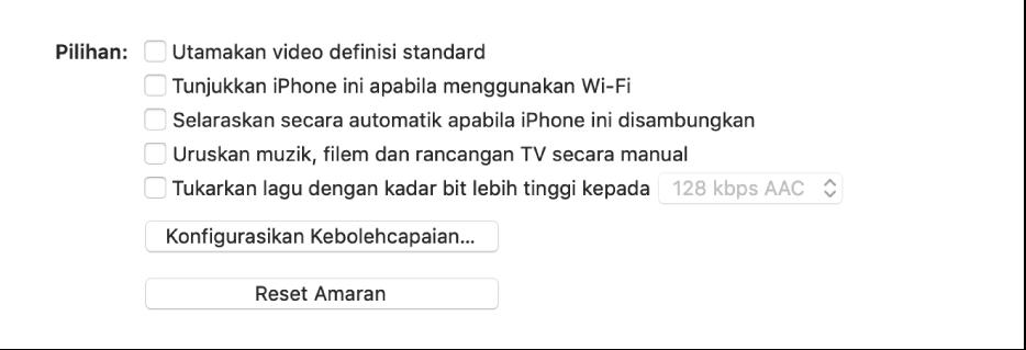 """Pilihan penyelarasan ini menunjukkan kotak semak untuk mengurus item kandungan secara manual, selaras secara automatik dan memaparkan peranti apabila bersambung menerusi Wi-Fi. Pilihan """"Utamakan video definisi standard"""" dan """"Tukarkan lagu dengan kadar bit lebih tinggi"""" juga muncul. Butang Konfigurasikan Kebolehcapaian dan butang Reset Amaran juga kelihatan."""
