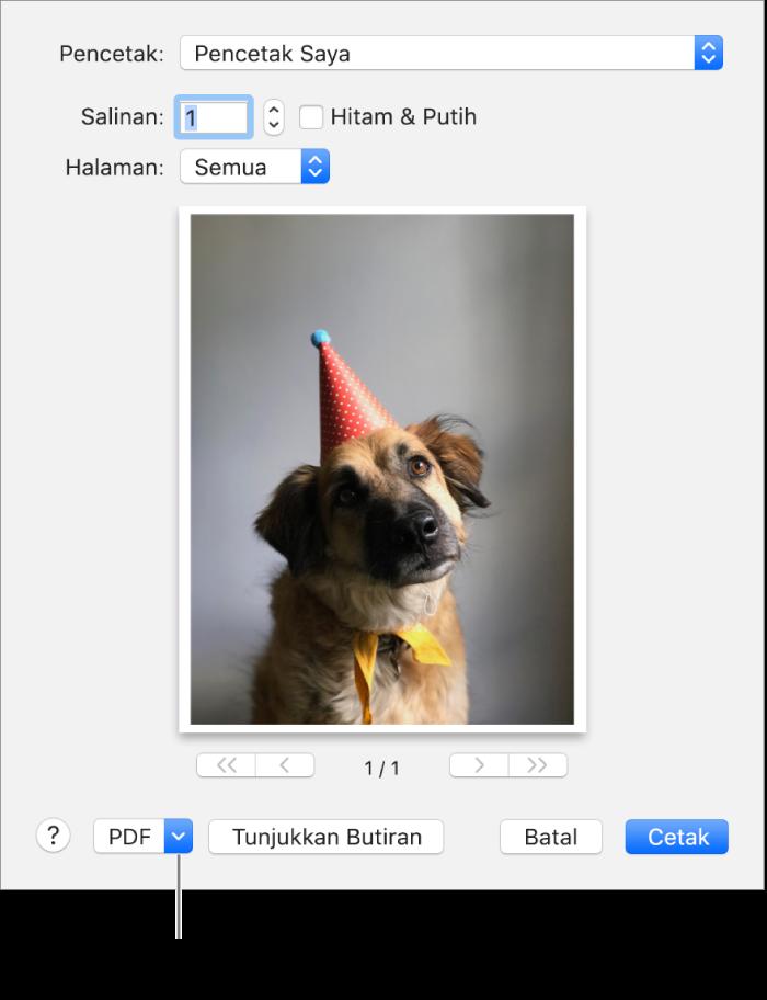 Klik menu timbul PDF, kemudian pilih Simpan sebagai PDF.