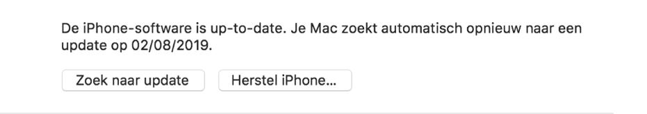 De knop 'Zoek naar update' naast de knop 'Herstel [apparaat]'.