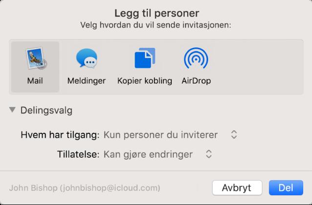 Legg til personer-vinduet som viser programmer du kan bruke til å opprette invitasjoner, og alternativene for å dele dokumenter.