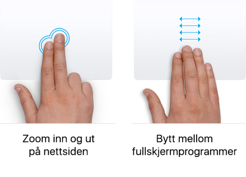 Eksempler på styreflatebevegelser for å zoome inn og ut på et nettside eller navigere mellom programmer i fullskjerm.