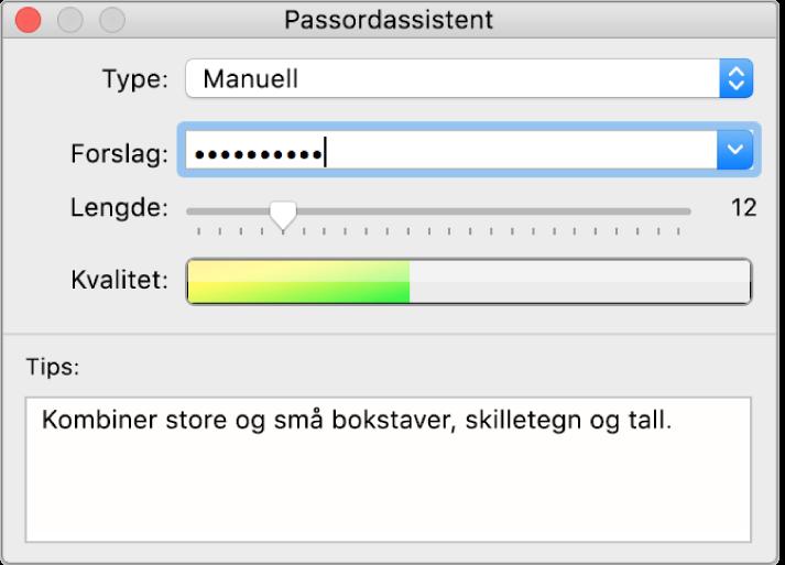 Passordassistent-vindu som viser alternativer for å opprette et passord.