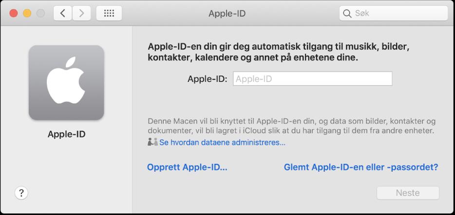 Apple-ID-dialogruten er klar for innskriving av en Apple-ID. En lenke for Opprett Apple-ID som lar deg opprette en ny Apple-ID.