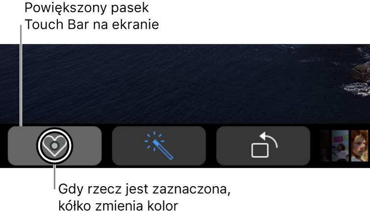 Powiększony pasek TouchBar wzdłuż dolnej krawędzi ekranu; kółko na przycisku zmienia się, gdy przycisk zostaje zaznaczony.