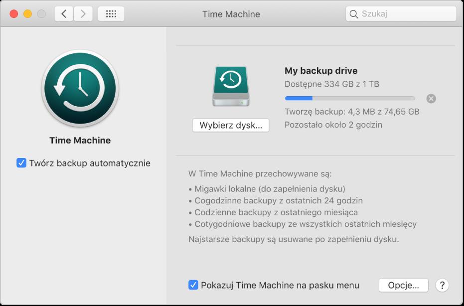 Preferencje Time Machine, pokazujące postęp wykonywania backupu na dysku zewnętrznym.