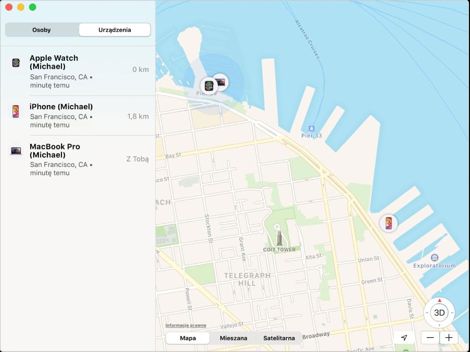 Aplikacja Lokalizator wyświetlająca listę urządzeń na pasku bocznym oraz ich położenie na mapie widocznej po prawej.