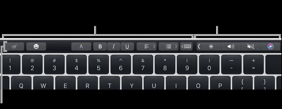 Pasek TouchBar wgórnej części klawiatury. Po jego lewej stronie znajdują się przyciski, które różnią się wzależności od aplikacji lub zadania. Po prawej stronie widoczny jest zwinięty pasek Control Strip.