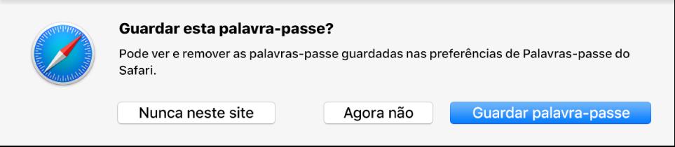 Uma caixa de diálogo a perguntar se pretende guardar a palavra-passe de um website.