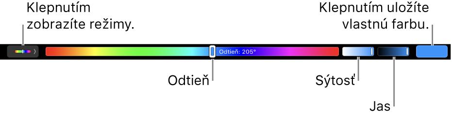 TouchBar zobrazujúci ovládače pre odtieň, sýtosť ajas vrežime HSB. Vľavo sa nachádza tlačidlo na zobrazenie všetkých režimov, vpravo tlačidlo na uloženie vlastnej farby.