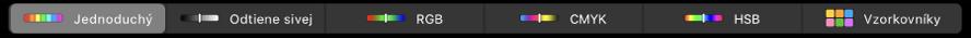 TouchBar zobrazujúci farebné režimy (zľava doprava) – Jednoduchý, Odtiene sivej, RGB, CMYK aHSB. Vpravo sa nachádza tlačidlo Vzorkovníky.