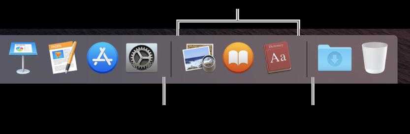 Oddeľovač medzi aplikáciami asúbormi alebo priečinkami vDocku.