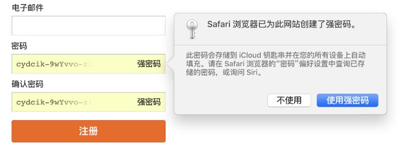 对话框显示 Safari 浏览器为网站创建了强密码,该密码将被存储在用户的 iCloud 钥匙串中并可在用户的设备上自动填充。