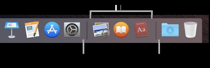 程序坞上 App 与文件和文件夹之间的分隔线。