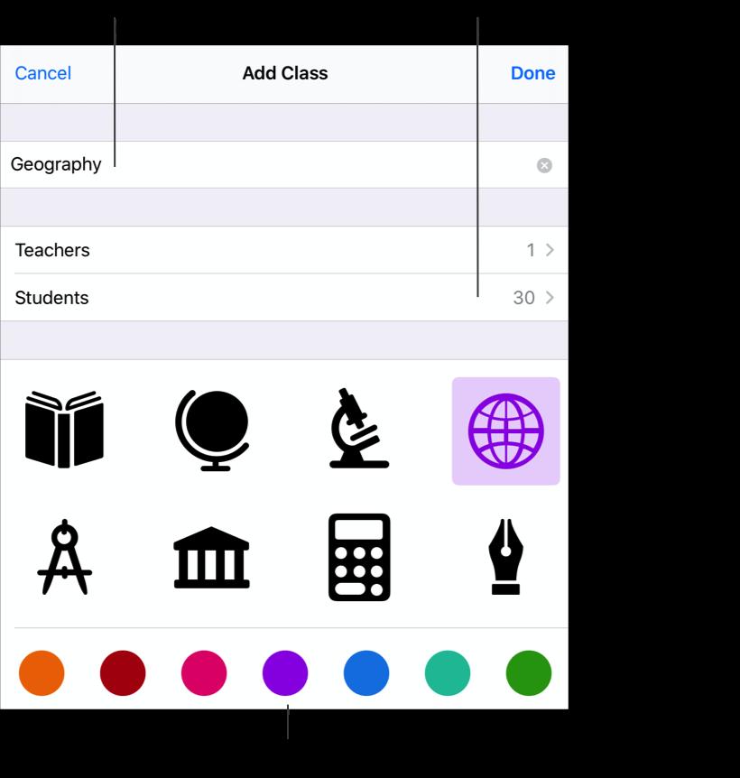 Le volet contextuel Ajouter une classe montrant le nom du cours– Géographie– 30élèves désignés et des icônes et couleurs facultatives. Touchez pour ajouter un nom, des enseignants supplémentaires et des élèves à votre cours. Vous pouvez également sélectionner une icône personnalisée et une couleur.