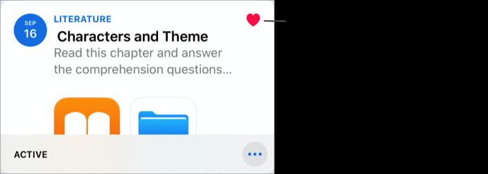 Et eksempel på en utdeling lagt til som favoritt (Characters and Theme). Hjerte-ikonet indikerer at en utdeling er lagt til som favoritt.