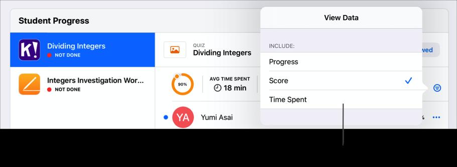 Przykładowa sekcja Postęp uczniów dla materiałów, wyświetlająca opcje filtrowania podsumowania postępu. Aplikacja Zadane wyświetla podsumowanie postępu dla wybranego zadania, gdy co najmniej jeden uczeń prześle postęp. Aby wyświetlić inne dane dotyczące postępu, stuknij w przycisk Filtruj, a następnie wybierz typ danych, które chcesz wyświetlić.