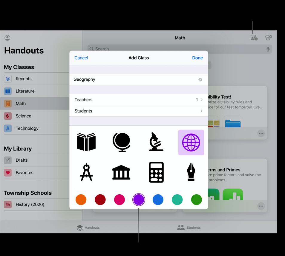 """班级视图示例 — Math,其中显示了""""添加班级""""弹出式面板。轻点""""课业""""窗口右上方的""""添加班级""""按钮,然后在""""添加班级""""弹出式面板中利用描述性名称、图标和颜色来创建新的班级。"""