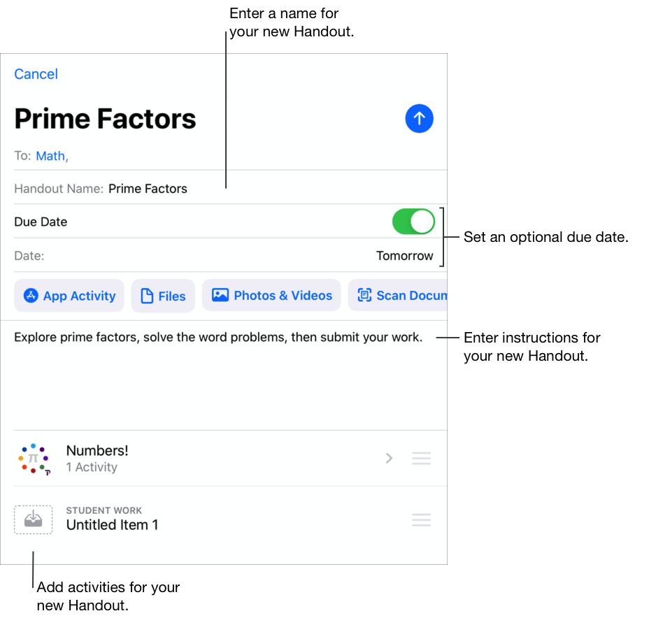 「新增作業」彈出式面板範例 —「Prime Factors」— 顯示做為收件人的「數學」面板、作業名稱、明天的繳交日期、指示和兩個加入的作業活動。