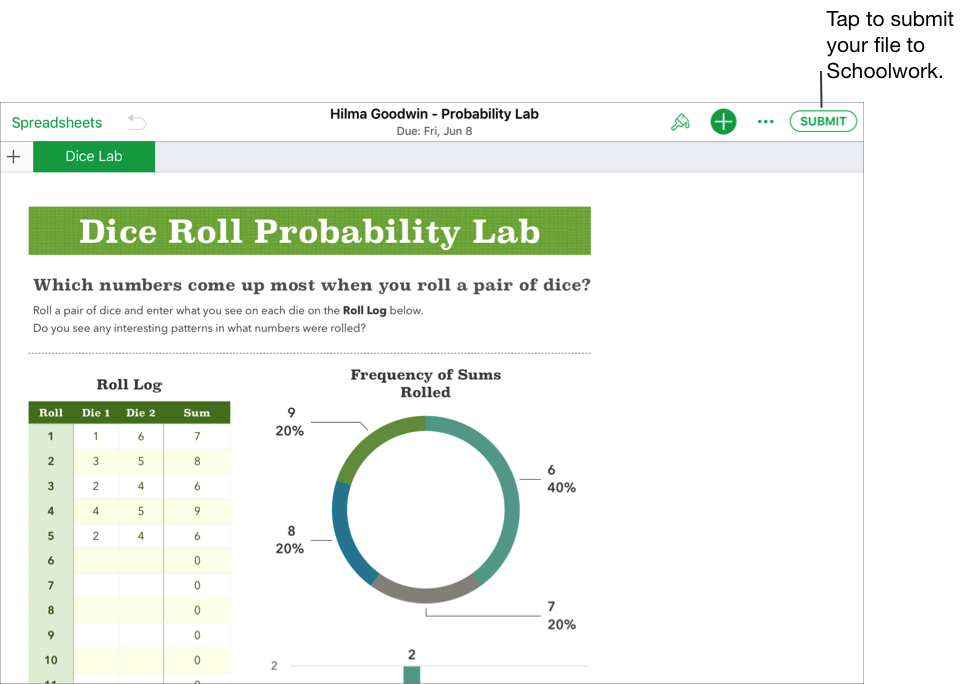 A sample of a student's collaborative file — Hilma Goodwin - Probability Lab — ready to submit to Schoolwork using the iWork Numbers app. To submit the document, tap Submit in the upper right of the window.