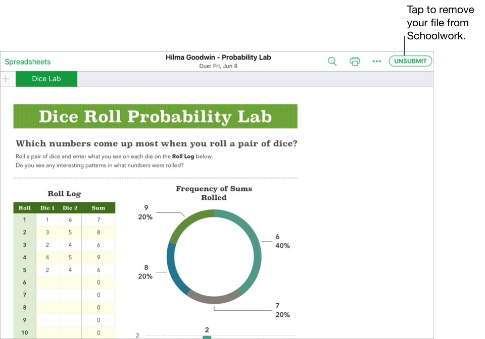 A sample of a student's collaborative file — Hilma Goodwin - Probability Lab — ready to unsubmit from Schoolwork using the iWork Numbers app. To unsubmit the document, tap Unsubmit in the upper right of the window.