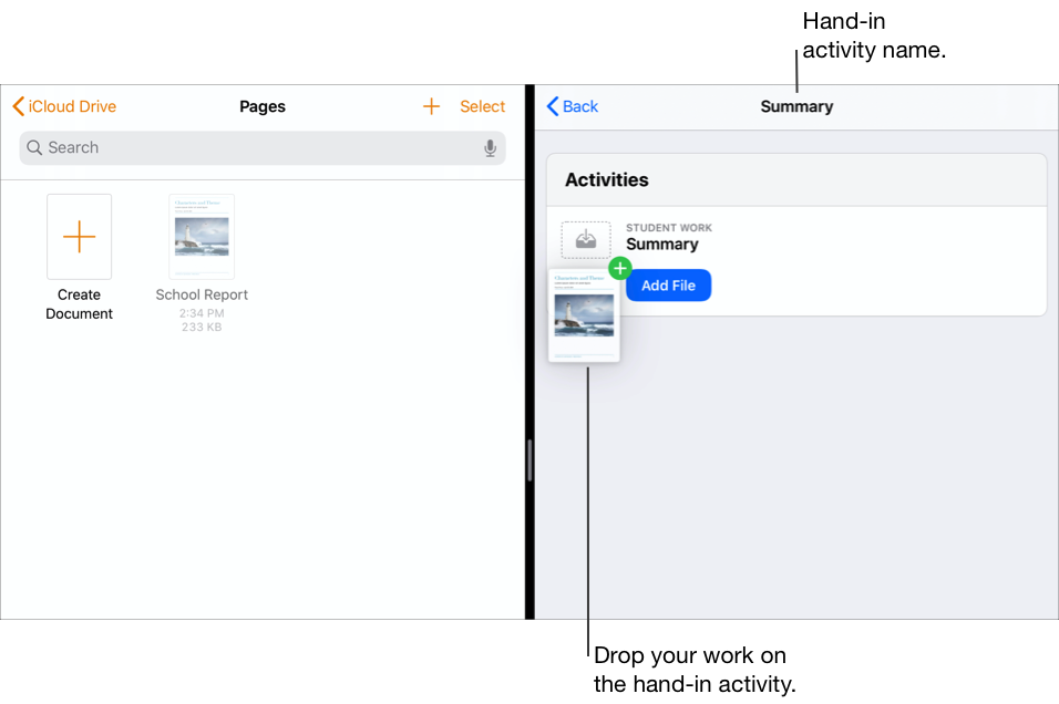 Split View showing the Files app on the left with two documents and Schoolwork on the right with the Read Tom Sawyer Handout open.