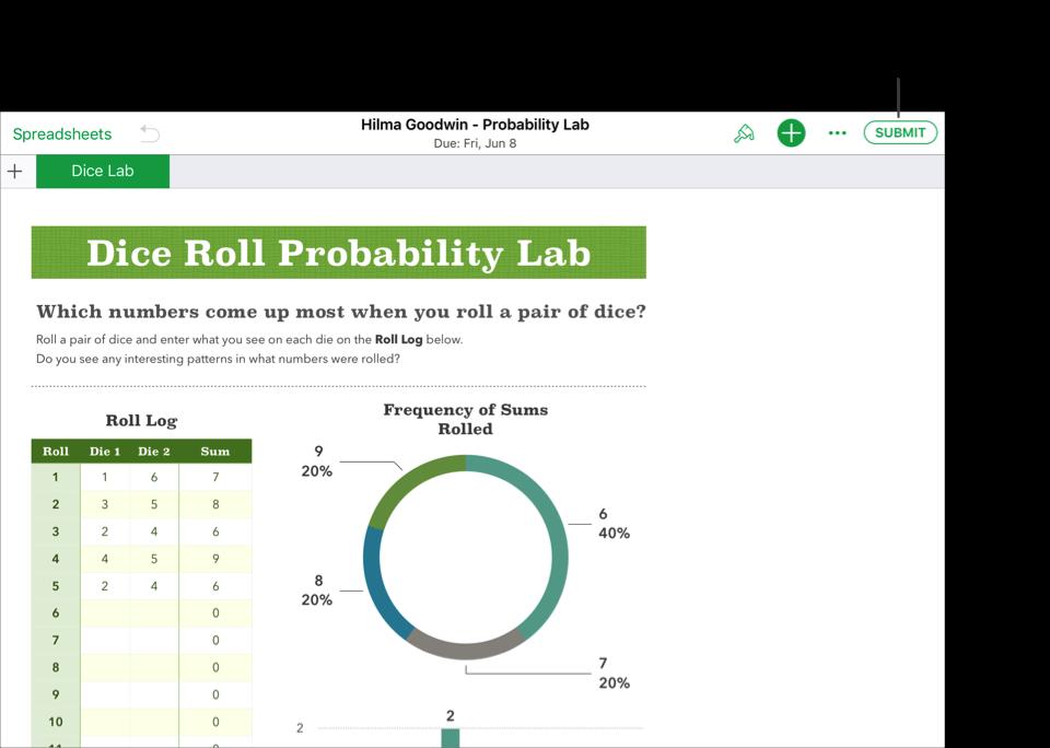 Et eksempel på en elevs samarbeidsfil – Hilma Goodwin - Probability Lab – som er klar for levering til Skolearbeid med iWork Numbers-appen. For å sende inn dokumentet trykker du på Send inn øverst til høyre i vinduet.