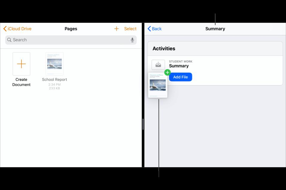SplitView som viser Filer-appen på venstre side med to dokumenter og Skolearbeid på høyre side med Les Tom Sawyer-utdelingen åpen.