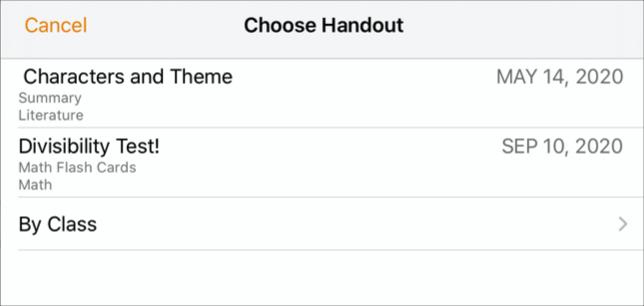 Используйте всплывающую панель «Выбрать материал», когда будете готовы отправить работу в приложении «Задания». Для отправки документа выберите материал, в который хотите отправить работу.