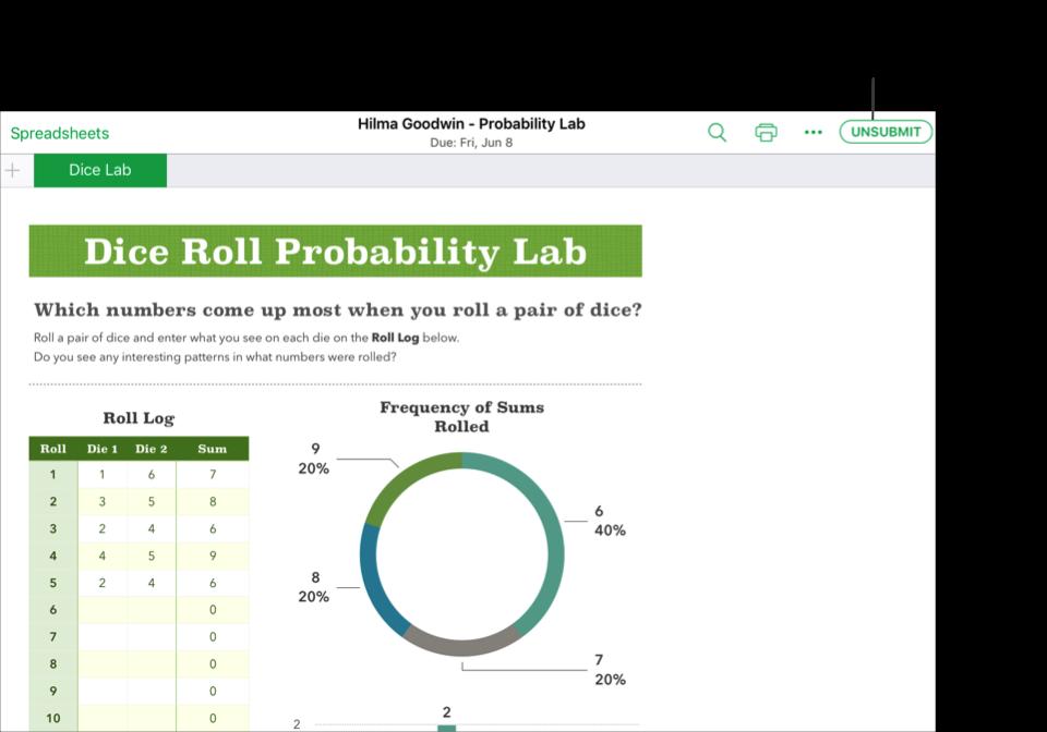 """ตัวอย่างไฟล์แบบทำงานร่วมกันของนักเรียน — Hilma Goodwin - Probability Lab — พร้อมยกเลิกการส่งจาก """"งานชั้นเรียน"""" โดยใช้แอพ Numbers ของ iWork หากต้องการยกเลิกการส่งเอกสาร ให้แตะที่ """"ยกเลิกการส่ง"""" ที่ด้านขวาบนของหน้าต่าง"""
