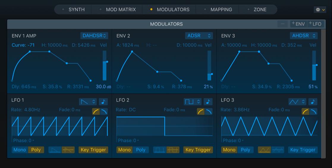 Figure. Sampler Modulators pane, showing Envelope and LFO parameters.