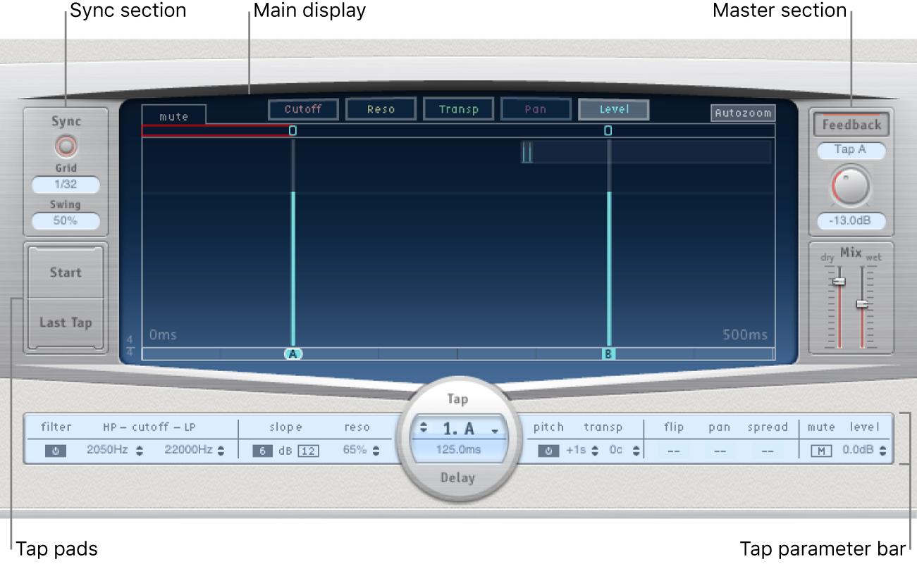 Figure. DelayDesigner window, showing main interface areas.