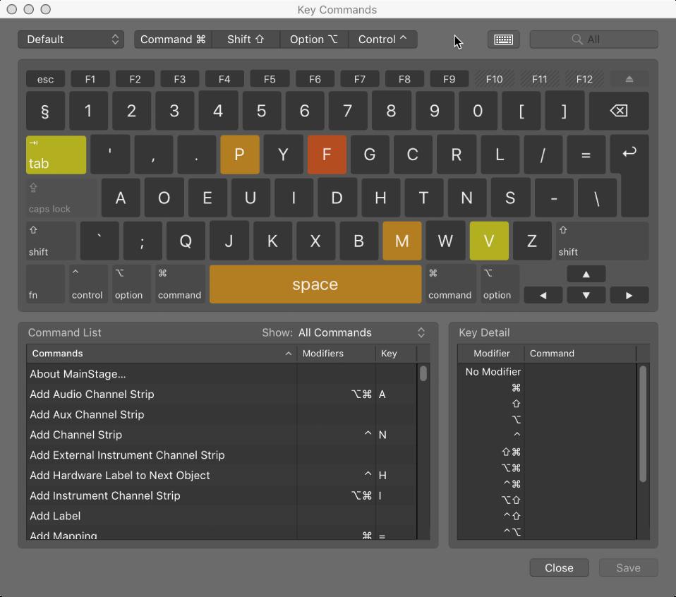 Key Commands Editor