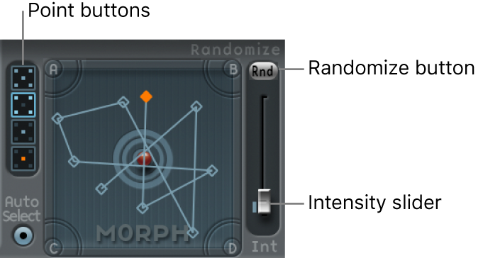 Figure. Morph Pad, showing Point buttons and Randomize parameters.
