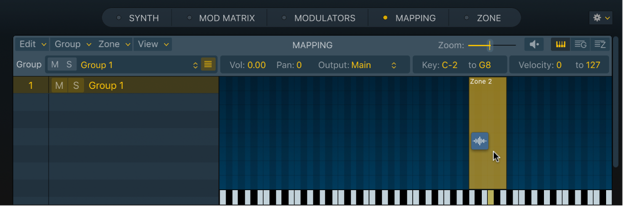 Figure. Sampler Key Mapping Editor, showing an audio file being dragged onto an empty zone.