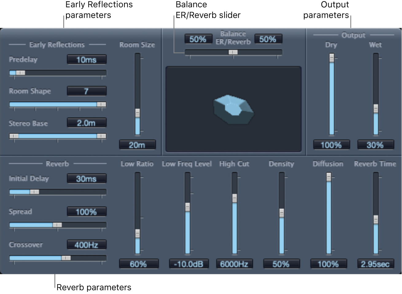 Figure. PlatinumVerb window, showing main parameter areas.