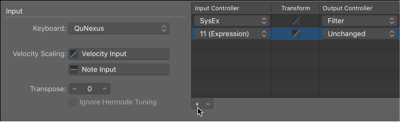 """Figure. Add a new controller transform by clicking the """"+"""" button."""