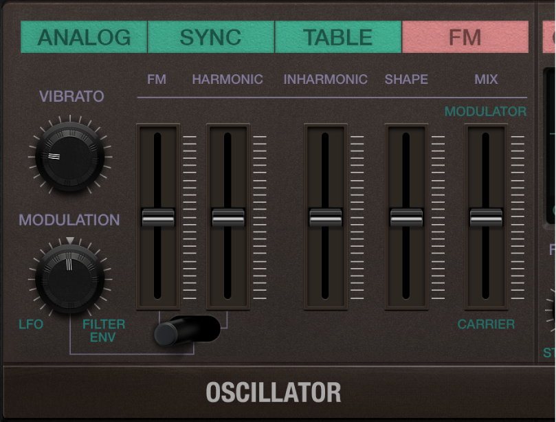 Figure. Retro Synth FM oscillator parameters.