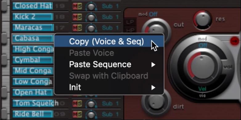 Figure. Sound name shortcut menu.