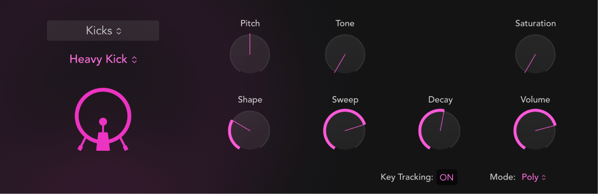 Figure. Drum Synth interface showing a kick drum sound and associated parameters. Parameters change when different types of drum sound are chosen.