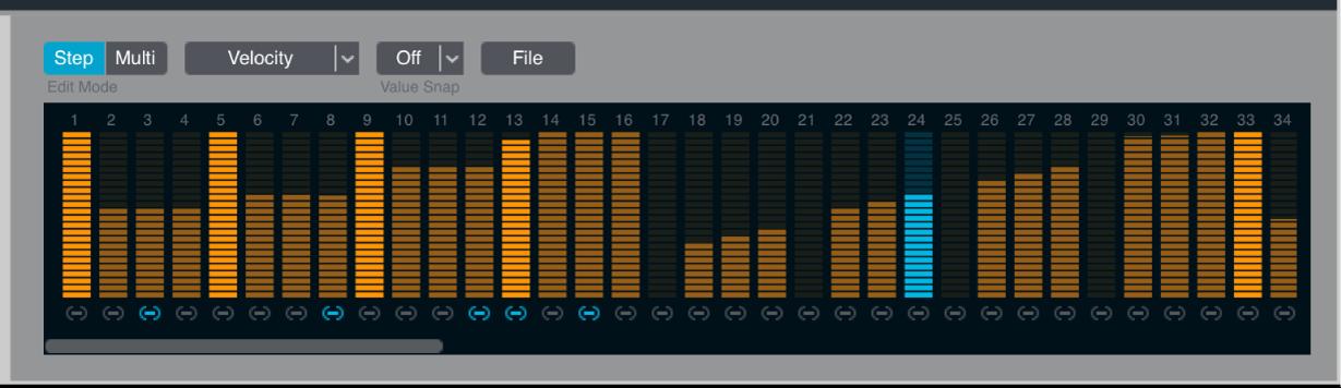 Figure. Arpeggiator step mode controls.