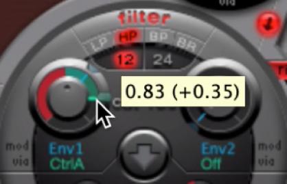 Figure. Cutoff knob, showing adjustment to via menu parameter value.