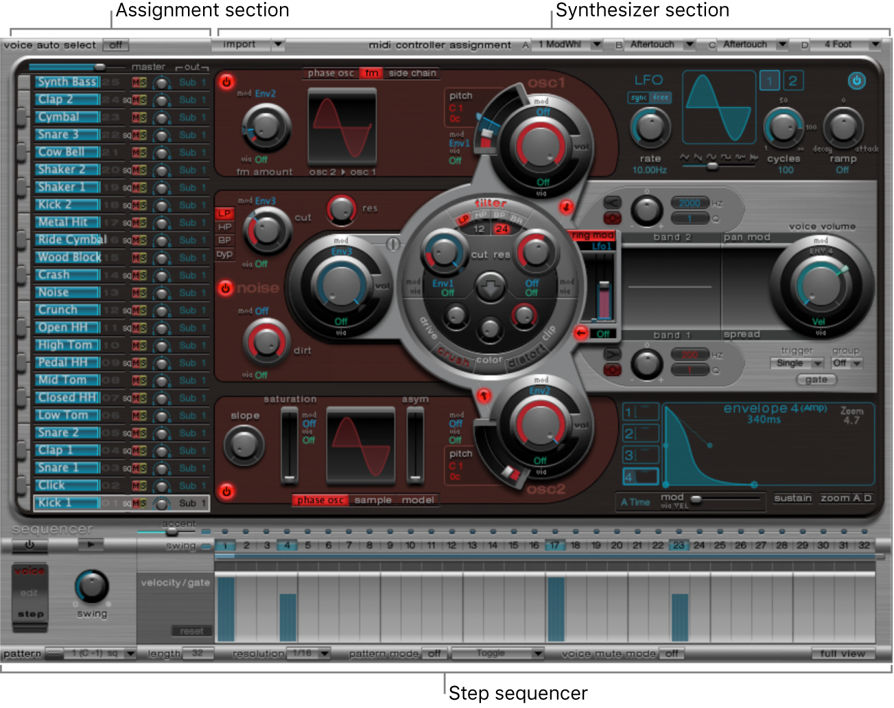 Figure. Ultrabeat window, showing main interface areas.